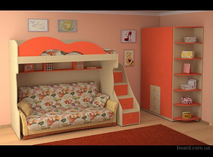 Детская двухъярусная кровать с диваном спб