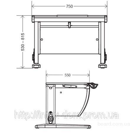 Парта оснащена ступенчатой (9-ти позиционной) системой регулировки угла наклона столешницы от 0 до 28 градусов.