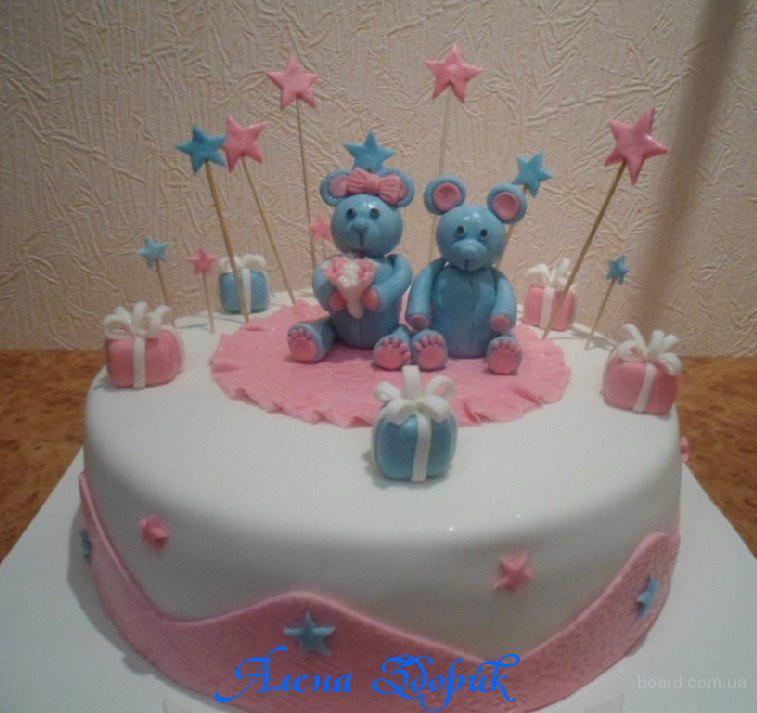 Детский торт с мишками на ДР девочки (2 годика)