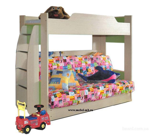 Фото Кровать детская двухъярусная с диван-кроватью, Мебель, интерьер, Детская мебель, Продажа Москва