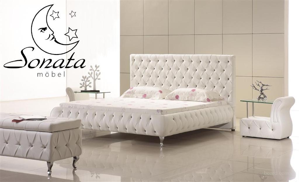 спальня белая кожанная кровать свиной