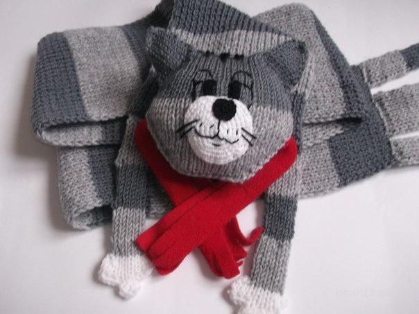 Связать спицами кот-шарф