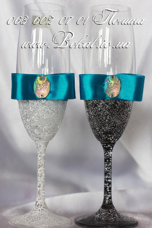 Свадебное оформление бокалов и бутылок, свадебные бокалы, шампанское на свадьбу, фото на бутылку.