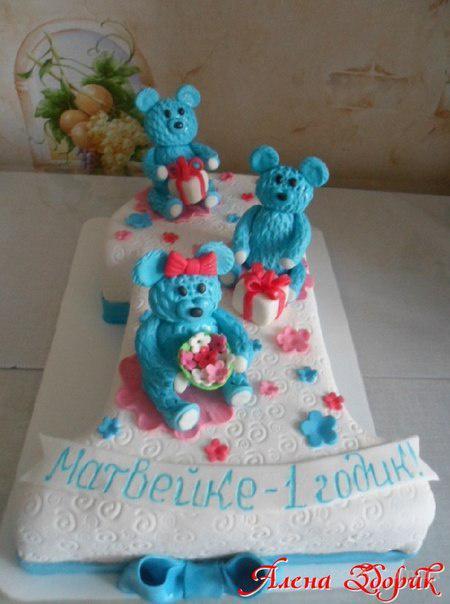 Торт на годик мальчику в виде единички с мишками. продам. грн.  510.