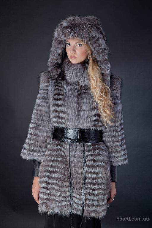 шуба пальто из меха чернобурки