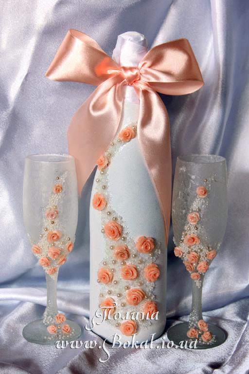 Свадебное оформление бутылок и бокалов, свадебное шампанское, шампанское на свадьбу, декор бокалов