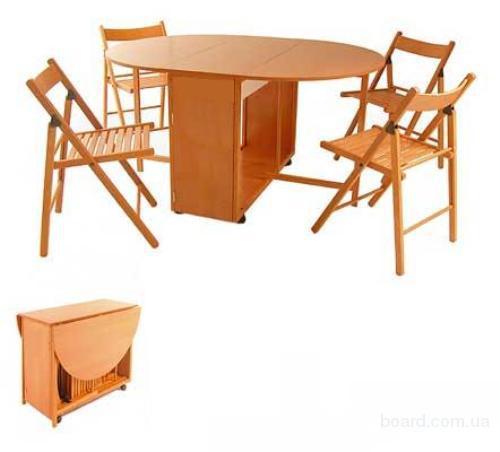 Продам стол раскладной и 4 стула (вкладываются во внутрь стола)