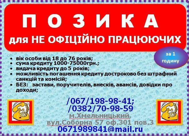Кредит наличными Хмельницкой области