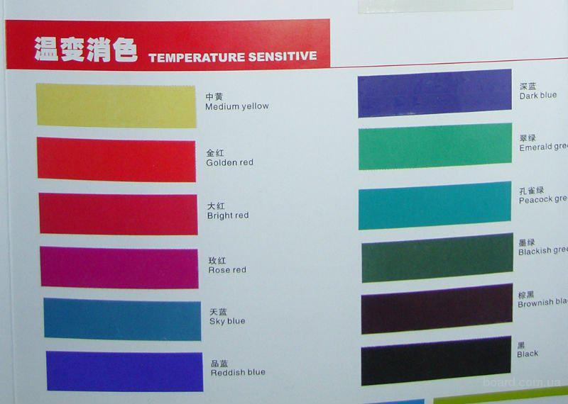 Невозвратная  термохромная ( температурная ) краска для трафаретной печатити , необратимое изменение цвета краски