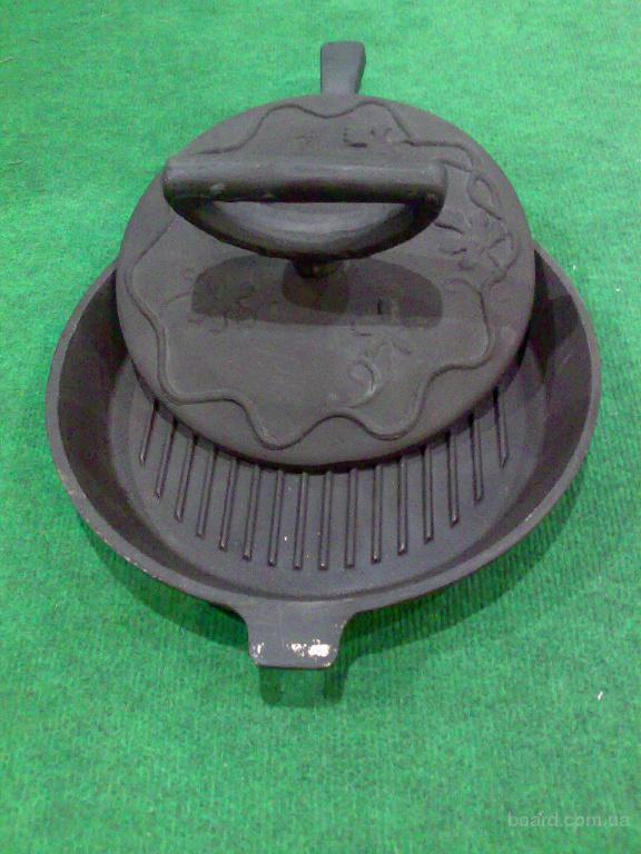 Сковорода гриль чугунная,диаметр 310 мм.