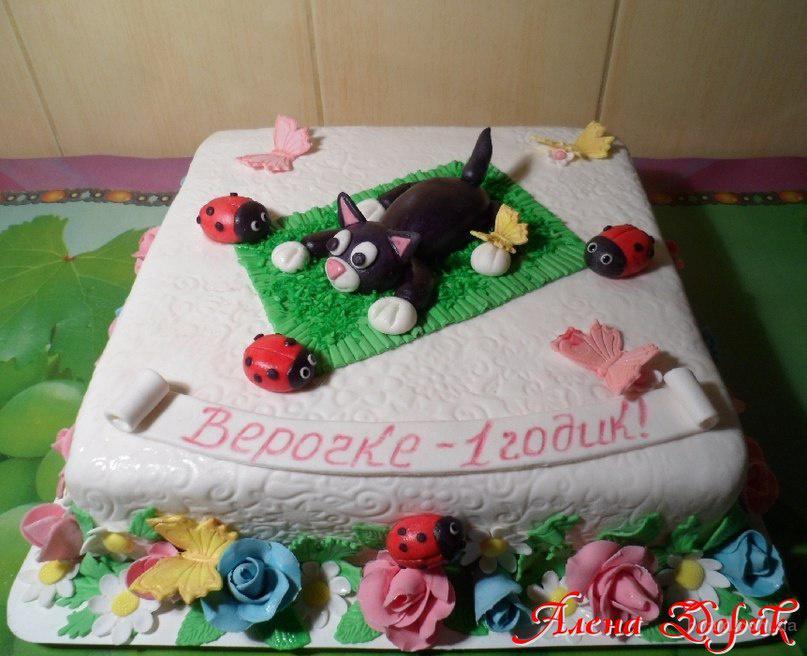 Торт на годик девочке с котенком