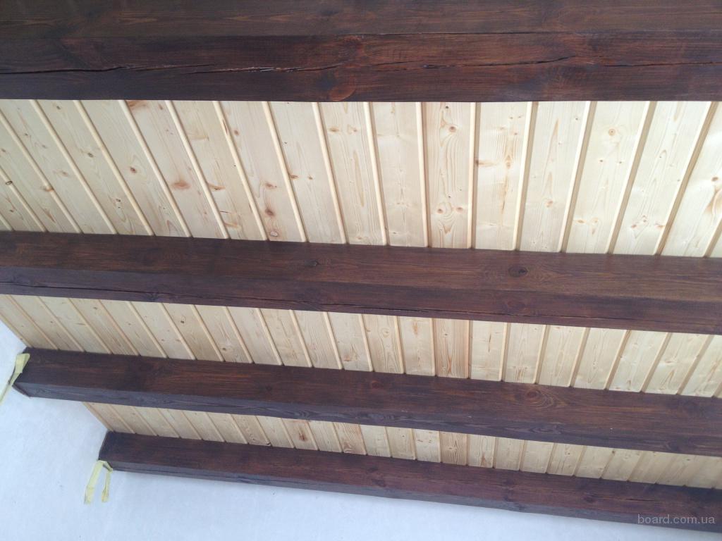 Потолок из бруса фото
