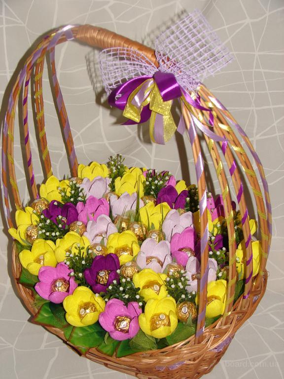 Фото как сделать корзину с цветами 136