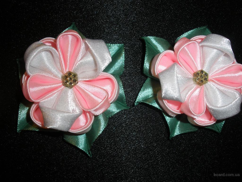 Цветы из лент для резинок своими руками