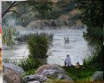 """Картина """"Рыбалка"""" холст, масло, 40х50 см"""