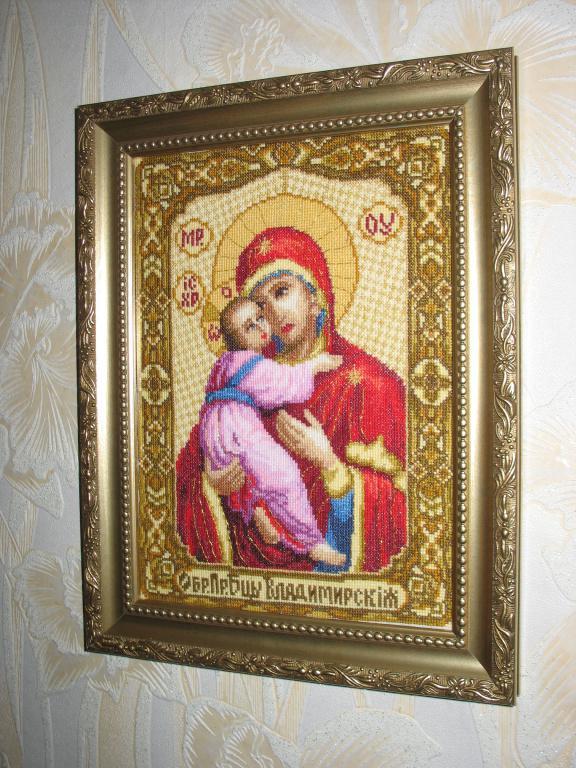 Вышитая картина Икона Божьей Матери Владимирской