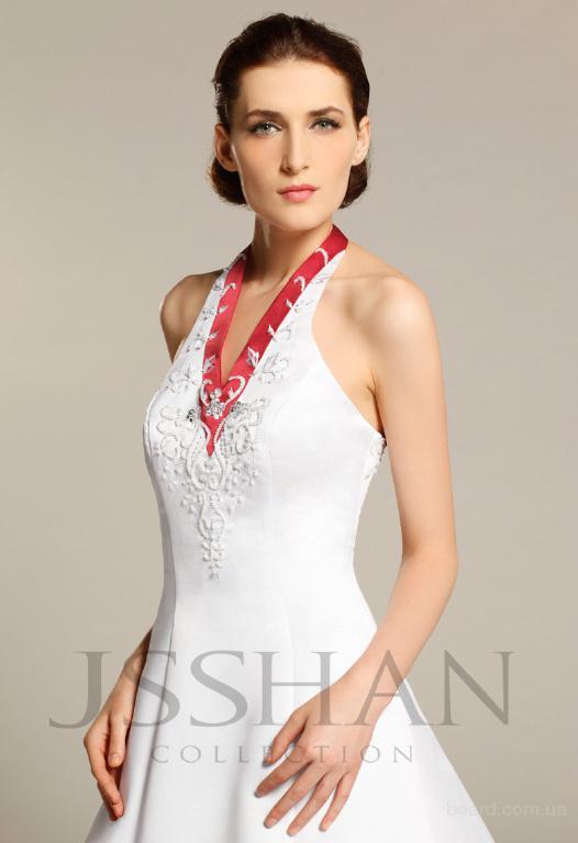 продам).  Холтер V-образным вырезом из бисера Вышивка Поезд атласная бальное платье свадебное платье.