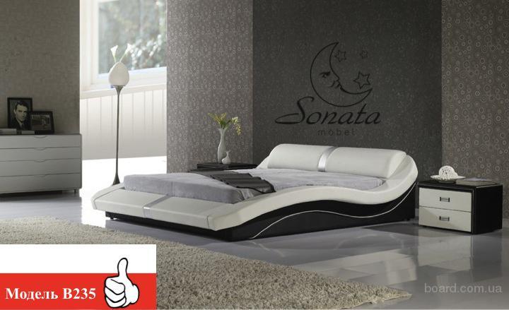 """Кожана кровать, двуспальная кровать, немецкая мебель, дизайнерская кровать ТМ """"Sonata Mobel"""" (Соната мебель)"""