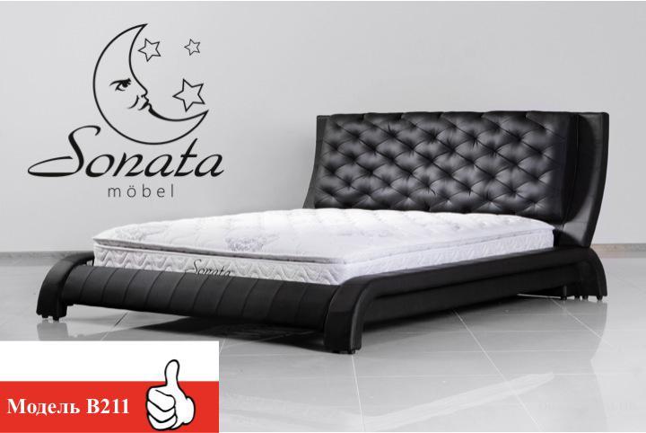 Кожаная кровать красного цвета в стиле хай-тек. Выставочные образцы - от 27999 грн. Купить кровать в интернет магазине.