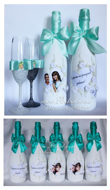 Шампанское на свадьбу, свадебный декор, декор бутылок на свадьбу