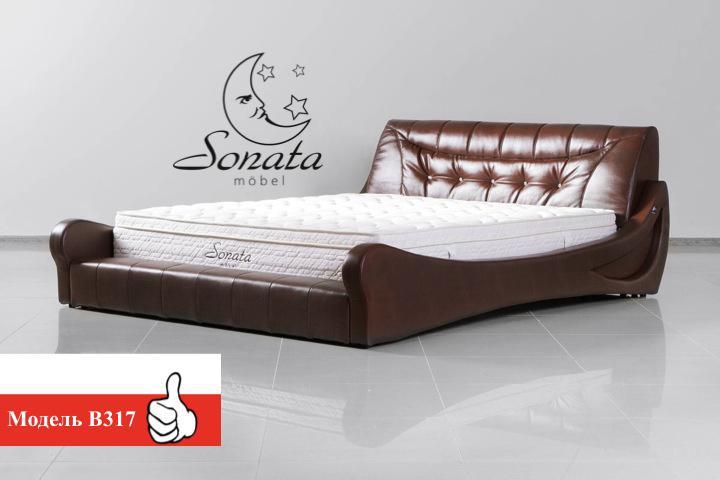 Кровать в современном стиле, кожаная, различные цвета.