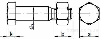 DIN EN 14399-8 Болт призонный высокопрочный с шестигранной головкой с увеличенным размером под ключ