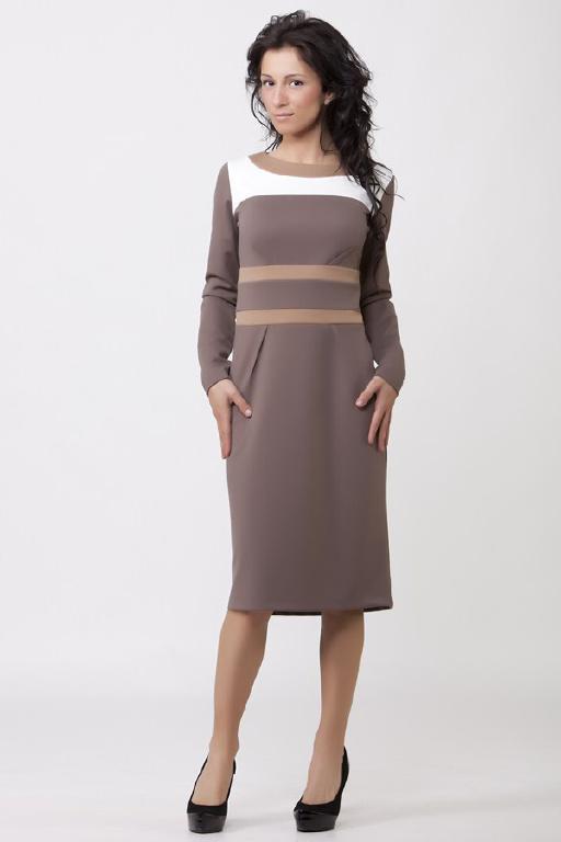 Элегантное кофейное платье