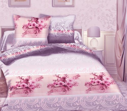 Комплект постельного белья из перкаля двуспальный с европростыней хлопок