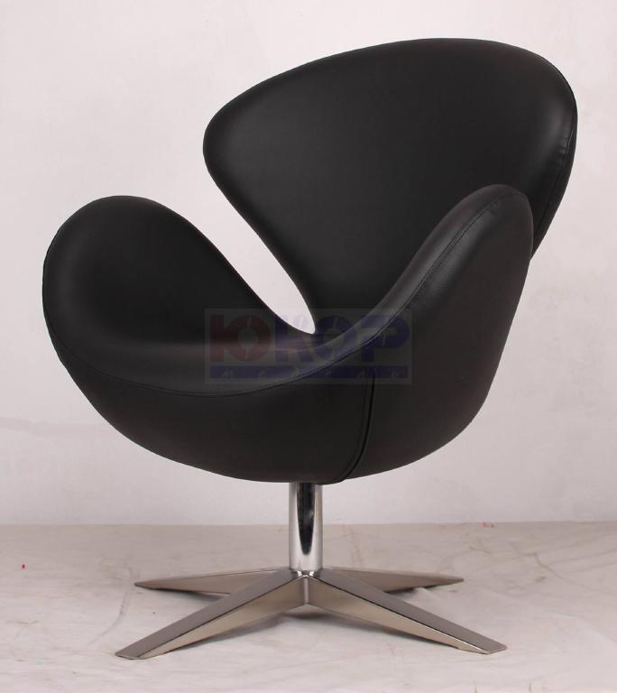 Кресло Swan (СВ, Лебедь) черный кожзам