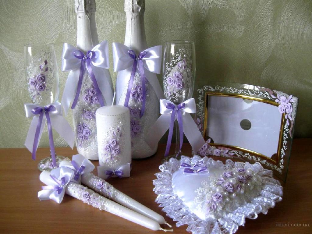 Оформление свадебного шампанского, бокалов, свечей и др. - ручная работа