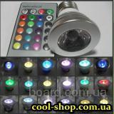 Многофункциональная 16-цветная лампа с пультом ДУ, Цветная LED лампа с пультом, Шестнадцатицветная лампочка-remote control LED light, купить в Киеве.