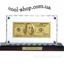 Золотая купюра 100 $ настольная акриловая, банкнота 100$ США золотая на подставке, золотая банкнота в  рамке, подарок шефу на 23 февраля, купить в Укр