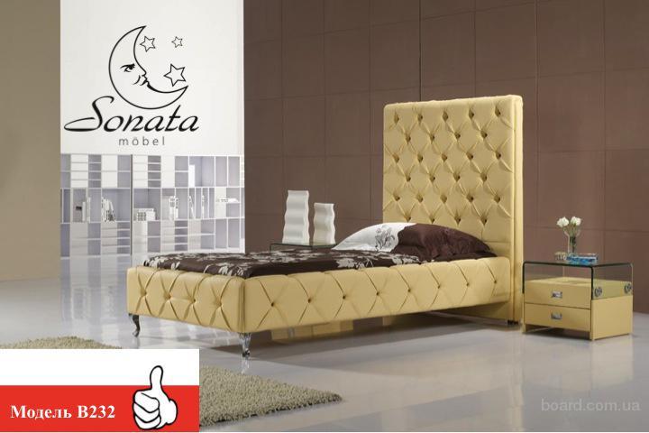 Кровать в современном стиле, кожаная, желтая кровать, желтый цвет. Кожаная мебель из Германии.