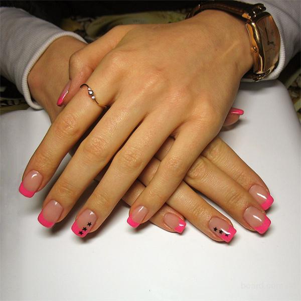 Фото наращивание ногтей френч розовый