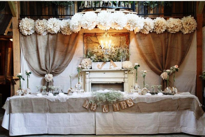 Праздничное украшение зала, украшение зала на свадьбу.Прокат.аренде банкетного текстиля.