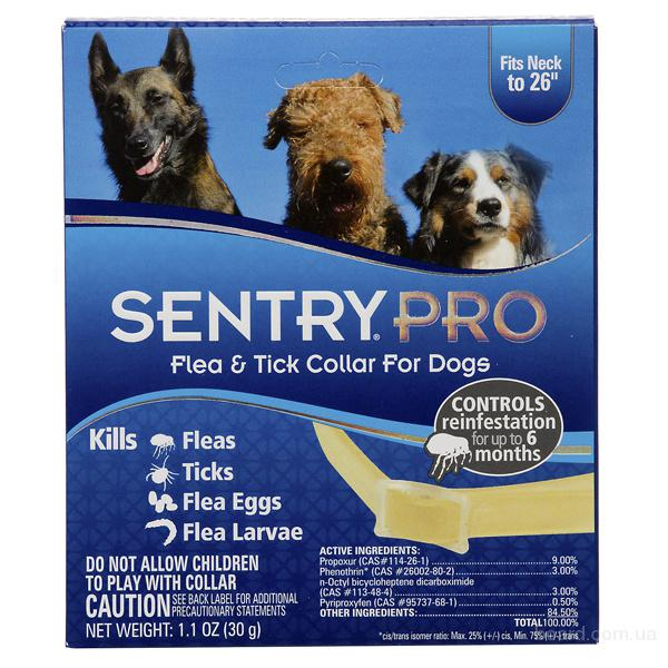 Sentry Pro ошейник для собак от блох, клещей, яиц и личинок блох 66 см