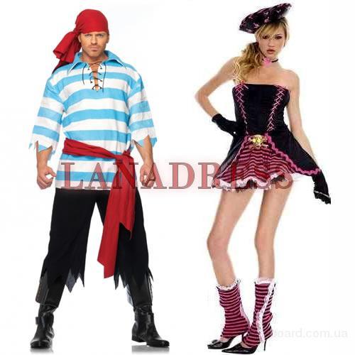 Карнавальный костюм Пиратки в платье с золотым черепом и Пирата Грабителя