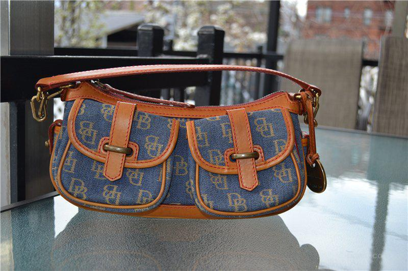 Сумка Dooney Bourke Signature Small Джинс + кожа, оригинал Б/У