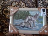 """Картина """"Волки"""" вышитая бисером. Ручная работа."""