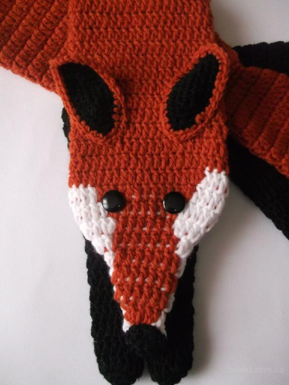 Вязаные зверошарфы шарф-лиса шарф-панда