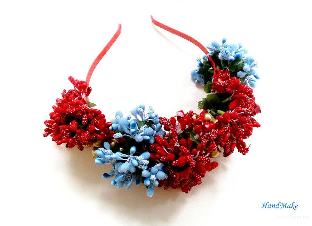 Обруч с цветами и бусинками, ободок для волос