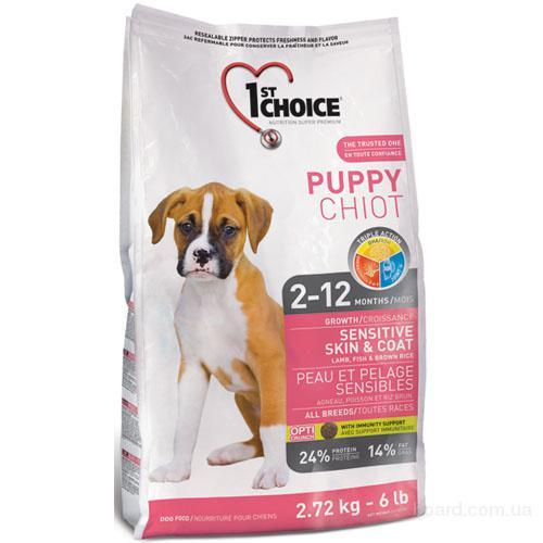 Корм для собак 1st Choice (Фест Чойс) с ягненком и океанической рыбой - сухой супер премиум корм для щенков.