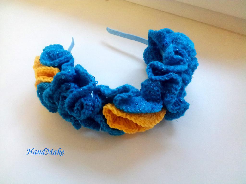 Обруч для волос сине-желтый