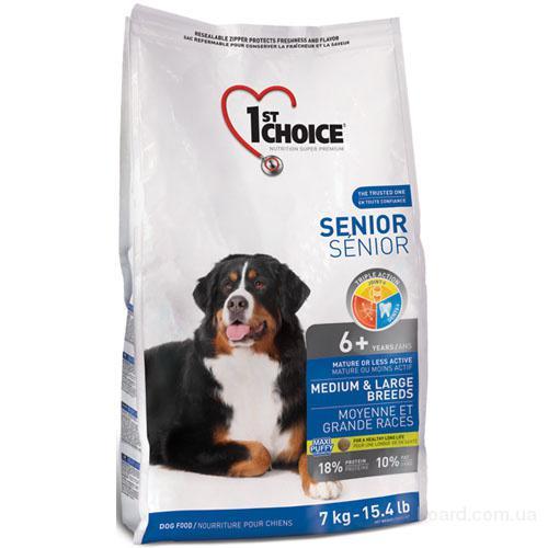 Корм для собак 1st Choice (Фест Чойс) для пожилых или малоактивных собак средних и крупных пород.