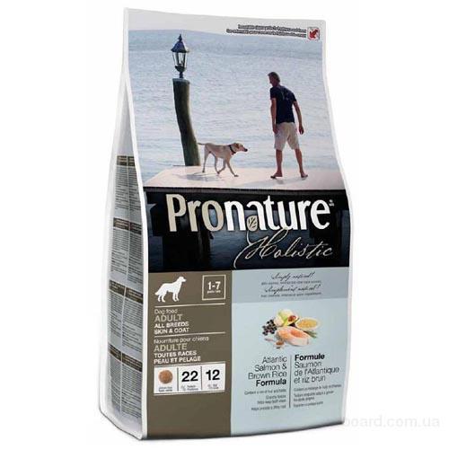 Корм для собак Pronature Holistic Атлантический лосось с коричневым рисом.
