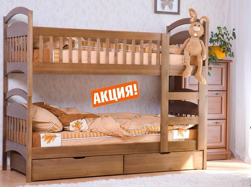 Кровать для подростков из натурального дерева