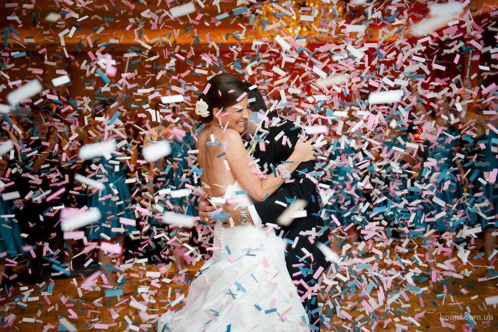 Конфетти шоу на свадьбу, день рождения, яркое украшения праздника, Киев