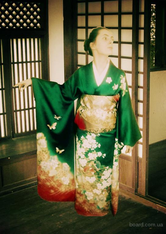 Винтажное японское кимоно фурисодэ