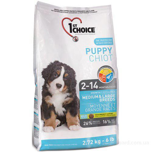 Корм для собак 1st Choice с курицей корм для щенков средних и крупных пород