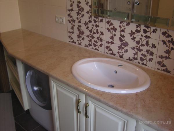 Столешница мраморная, столик в ванную из мрамора —  3 500 грн.